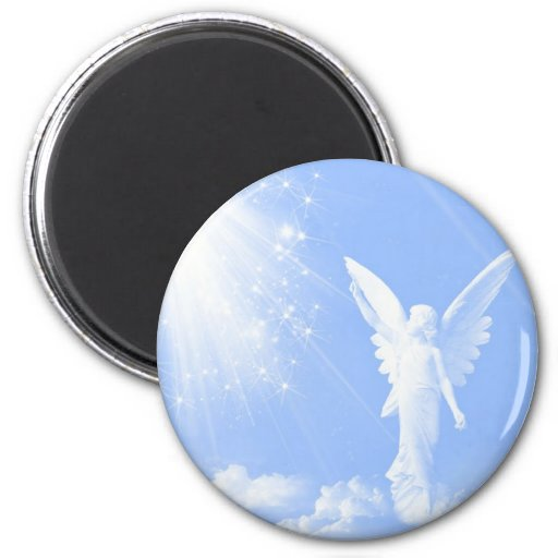 Angel In The Clouds 2 Inch Round Magnet