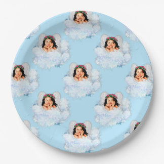 Angel in the Clouds 4-LT Blue-PAPER PARTY PLATE