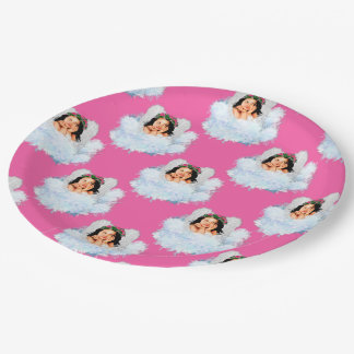 Angel in the Clouds 5-Pink-PAPER PARTY PLATE
