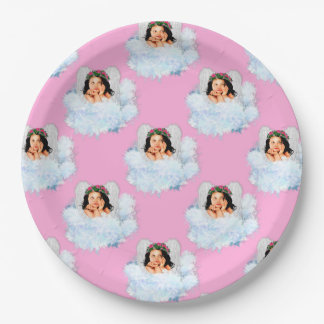 Angel in the Clouds 6-Lt Pink-PAPER PARTY PLATE