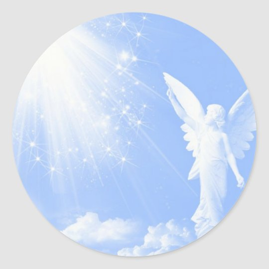 Angel In The Clouds Classic Round Sticker