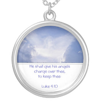 Angel in the Clouds, Encouragement, Scripture Silver Plated Necklace