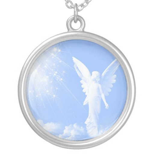 Angel in the Clouds Round Pendant Necklace