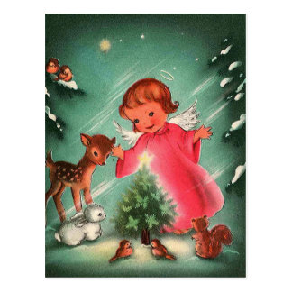 Angel In The Forest With Animals Postcard