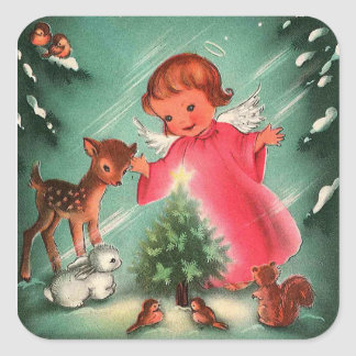 Angel In The Forest With Animals Square Sticker