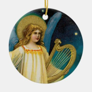 Angel in the Night With Harp Holiday Tree Ornament