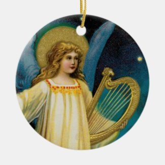 Angel in the Night with Harp Keepsake Art Ornament