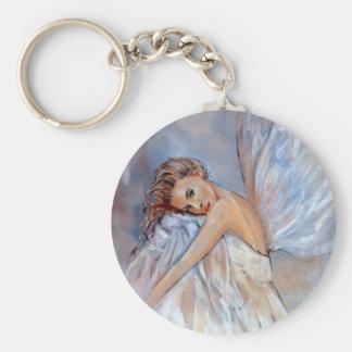 Angel in White Basic Round Button Keychain
