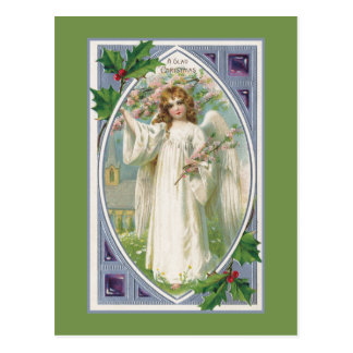 Angel in White With Blue and Green Postcard
