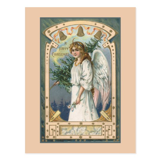 Angel in White With Teal and Gold Postcard
