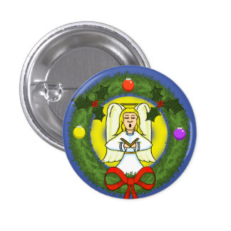 Angel in Wreath Holiday Pin