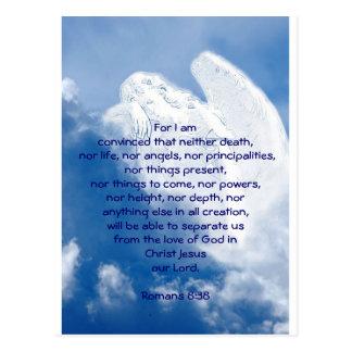 Ángel inspirado de la escritura en las nubes, postal