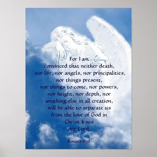 Ángel inspirado de la escritura en las nubes, roma poster