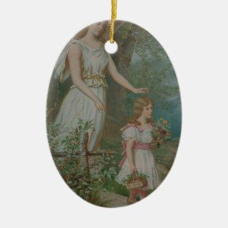 Ángel inspirado del arte de la iglesia del amor de adorno ovalado de cerámica