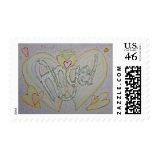 Angel Inspirational Word Painting Postage Stamp stamp
