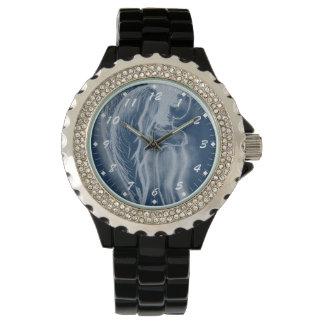 Ángel invertido oblicuo en azules oscuros relojes de pulsera