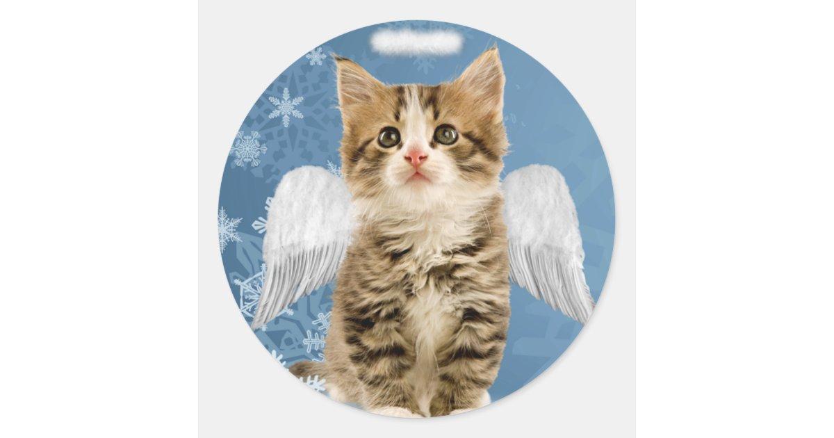 Kitten Christmas.Angel Kitten Christmas Stickers Zazzle Com