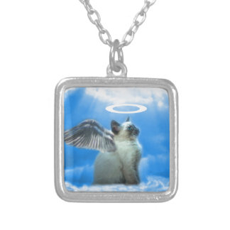 Angel Kitten Gifts Square Pendant Necklace
