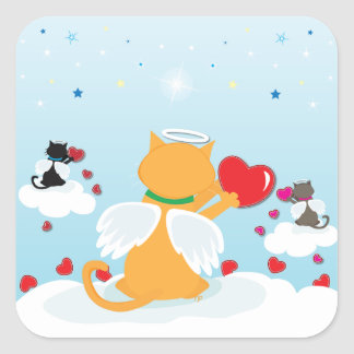 Angel Kitties Daylight - With Love from Heaven Square Sticker