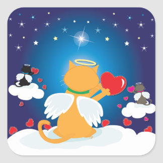 Angel Kitties - With Love from Heaven Square Sticker
