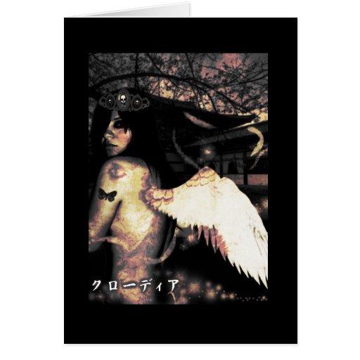 Ángel lateral malvado tarjeta de felicitación