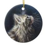 Angel Light Maine Coone cat painting art Ceramic Ornament