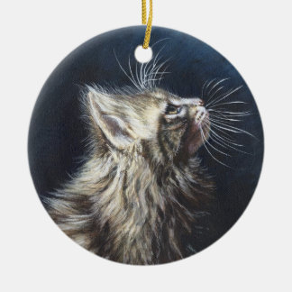 Angel Light Maine Coone cat painting art Double-Sided Ceramic Round Christmas Ornament