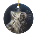 Angel Light Maine Coone cat painting art Christmas Tree Ornaments