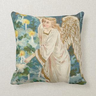 Angel Lighting Candlelit Christmas Tree Throw Pillow