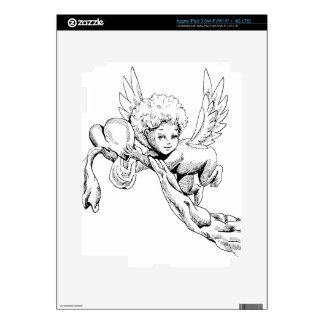 Ángel lindo blanco y negro con el corazón iPad 3 pegatinas skins