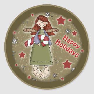 Ángel lindo del navidad con el bastón de caramelo pegatina redonda
