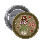 Ángel lindo del navidad con el bastón de caramelo pin