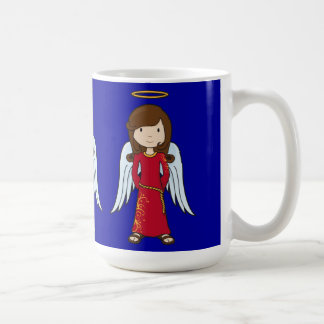 Ángel lindo del navidad con el traje rojo taza de café