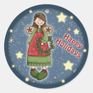 Ángel lindo del navidad con la guirnalda pegatina redonda