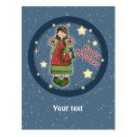 Ángel lindo del navidad con la guirnalda postales