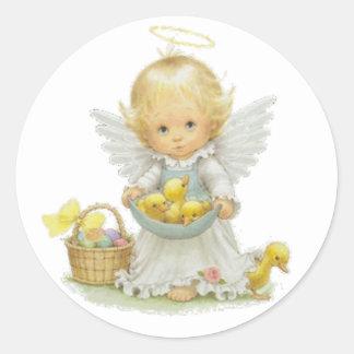 Ángel lindo y anadones de Pascua Etiqueta Redonda