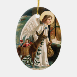 Angel Looking into Window with Deer Christmas Ceramic Ornament