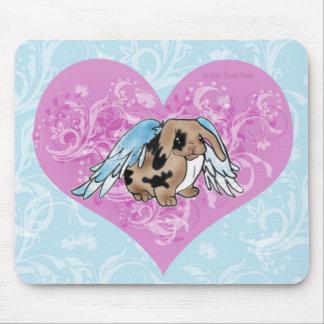 Angel Lop Bunny Mousepad w/Heart Swirls