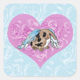 Angel Lop Bunny Sticker w/ Heart Swirls