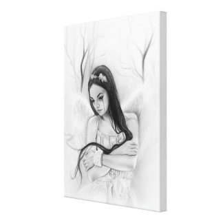 Angel lost sad crying emotional wrapped canvas