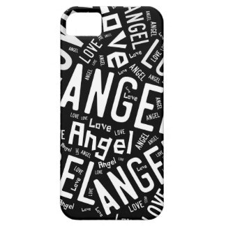Angel Love Dove, White on Black iPhone SE/5/5s Case