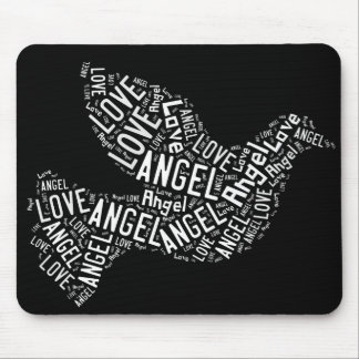 Angel Love Dove, White on Black Mouse Pad