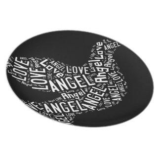 Angel Love Dove, White on Black Plate