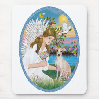 Angel Loving a Whippet Mouse Pad