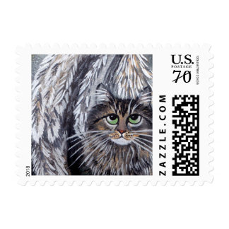 Angel Maine Coon Cat Postage Stamp
