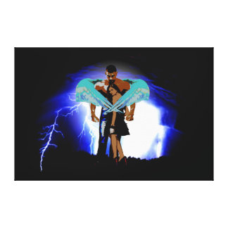 Angel Man Protecting Woman From Storm Canvas Print