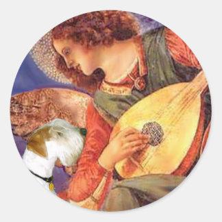 Angel & Mandolin - Sealyham Terrier Classic Round Sticker