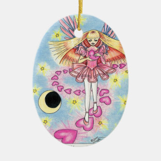 """Angel """"Mary"""" Double-Sided Oval Ceramic Christmas Ornament"""