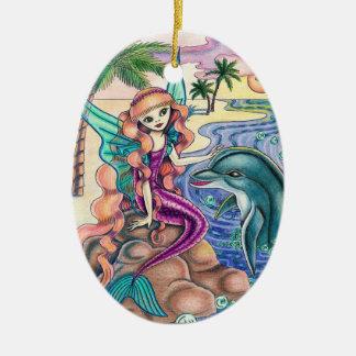 """Angel Mermaid """"Tatiana"""" Ceramic Ornament"""