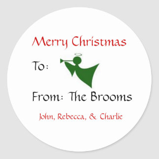 angel, Merry Christmas, To:, From: The Brooms, ... Classic Round Sticker